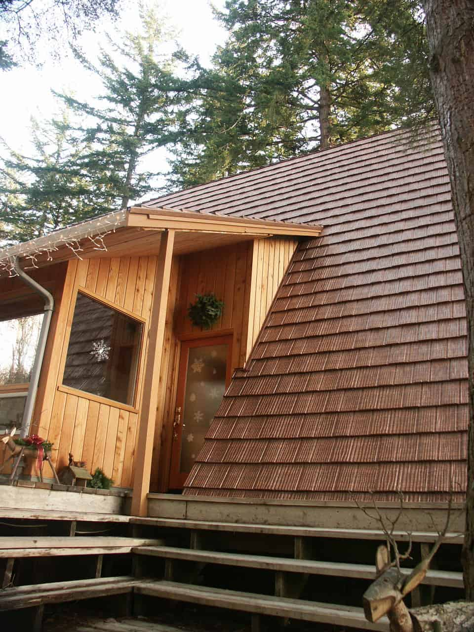 A-Frame House with an Interlock Metal Roof