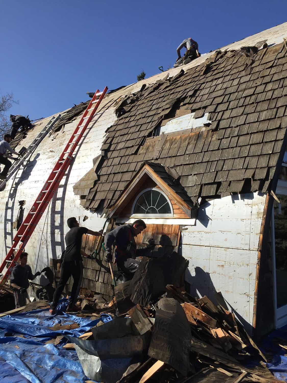 Whitecourt AB Canada Roof Arch Rib Roof Installation remove cedar shingles